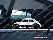two Livin' RETRO car stickers -for VW Beetle oval classic vintage volkswagen bug