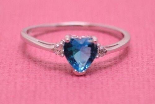 STONE RING Genuine SterlingSilver Size 10 CUTE ZIRCON BRIGHT BLUE HEART C.Z