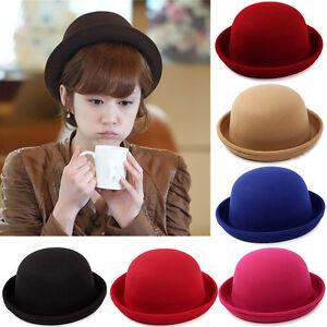 Vintage-Women-039-s-Wool-Hat-Felt-Elegant-Floppy-Bowler-Fedora-Beret-Warm-Beanie-Cap