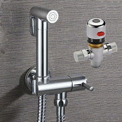 NEW Brass Bidet Sprayer Shattaf Shower Spray Kit Set + Thermostatic MIxer Valve