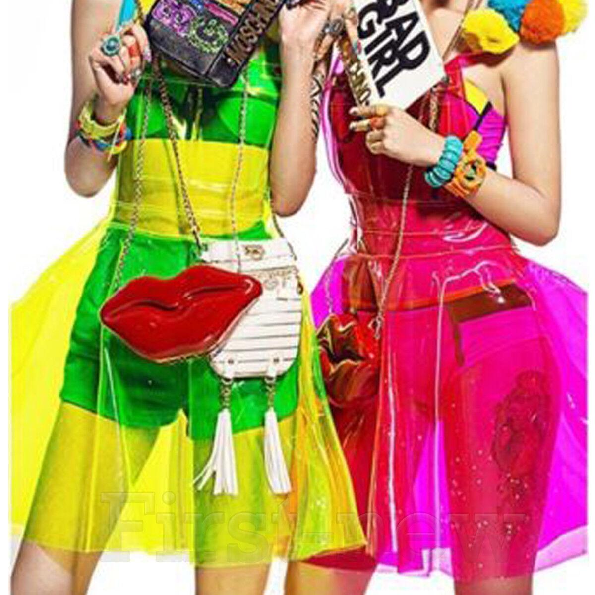Lady Soft Vinly PVC Dress Women Clear Hologram Performance Plastic Jelly Dresses