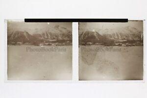 Vista Dei Montagne Neige Foto Placca Stereo 6x13cm Vintage