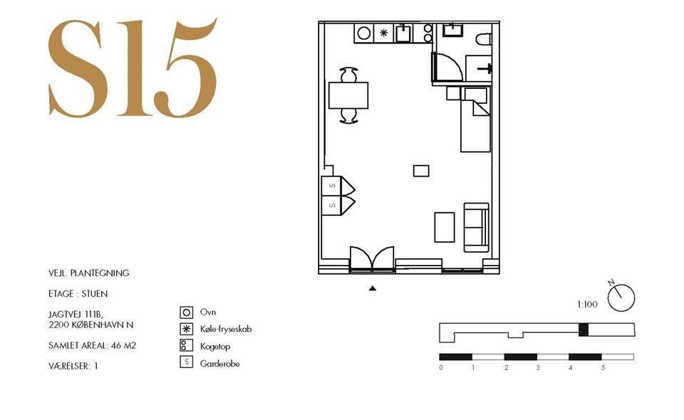 2200 vær. lejlighed, m2 46, Jagtvej