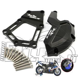 COPRI-CARTER-COVER-MOTORE-ALLUMINIO-CNC-BMW-S1000RR-HP4-2010-2011-2012-NERO