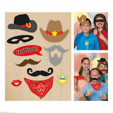 10 Piece Western Cowboy Photo Booth Party Props Sheriff Accessory 61936