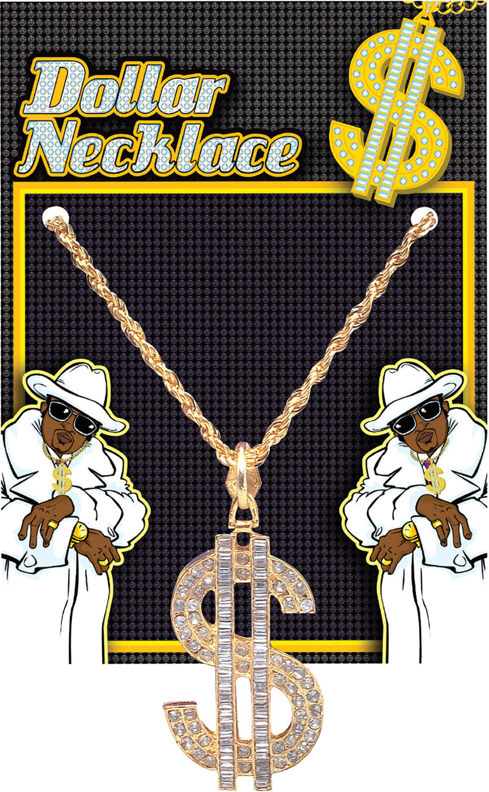 Adult Mens 70s Daddy PIMP Gangster Fancy Party Dollar Necklace Superior Metal UK