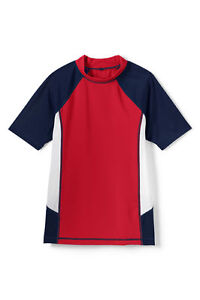 3677dddf2e3a LANDS  END Toddler Boys  2T Red Colorblock Rashguard Swim Shirt NWT ...
