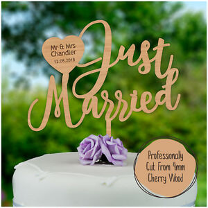 JUST-MARRIED-Rustic-Wooden-PERSONALISED-Wedding-Cake-Topper-Mr-Mrs-SURNAME-DATE