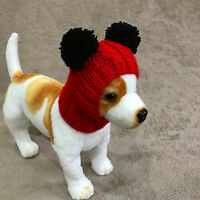 Pet Clothes Hand Knit Hat Pullover Hoodie Red Hat For Small Dog
