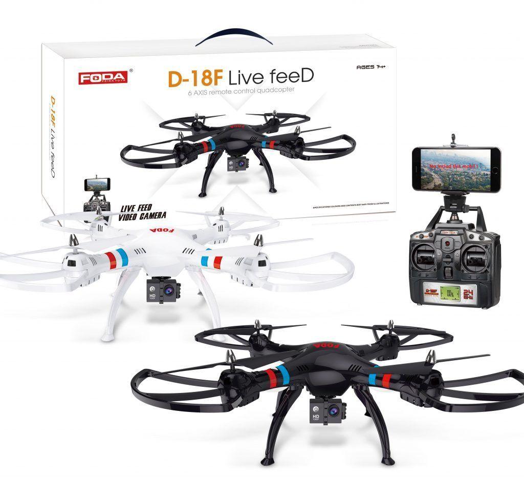 D-18F radio contrôlée HD 1080p Live Live Live Feed DRONE 2.4GHZ 6-Axis Quadricoptère Blanc b2bd72