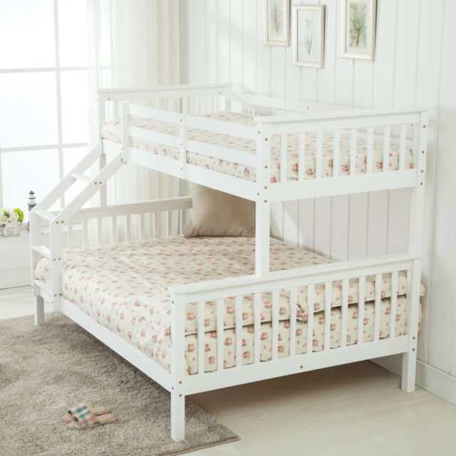 White Wooden Triple Sleeper Bunk Beds Frame 3ft Single Top 4ft6 Base