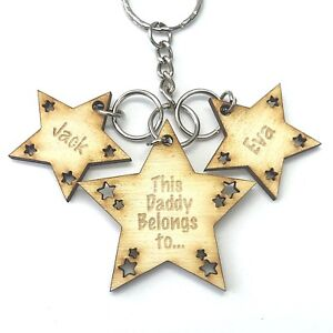 Personalised-Mothers-Day-Gifts-For-Daddy-Dad-Grandad-Star-Keyring-Father-039-s