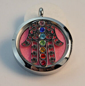 New Chakra Hamsa Hand, Diffuser Necklace Locket Stainless Still 10ml Oil 11Pads