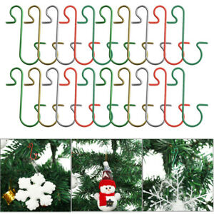 20 Christmas Tree Hanging Baubles Ball Metal S Hooks Xmas Small Ornaments Hanger