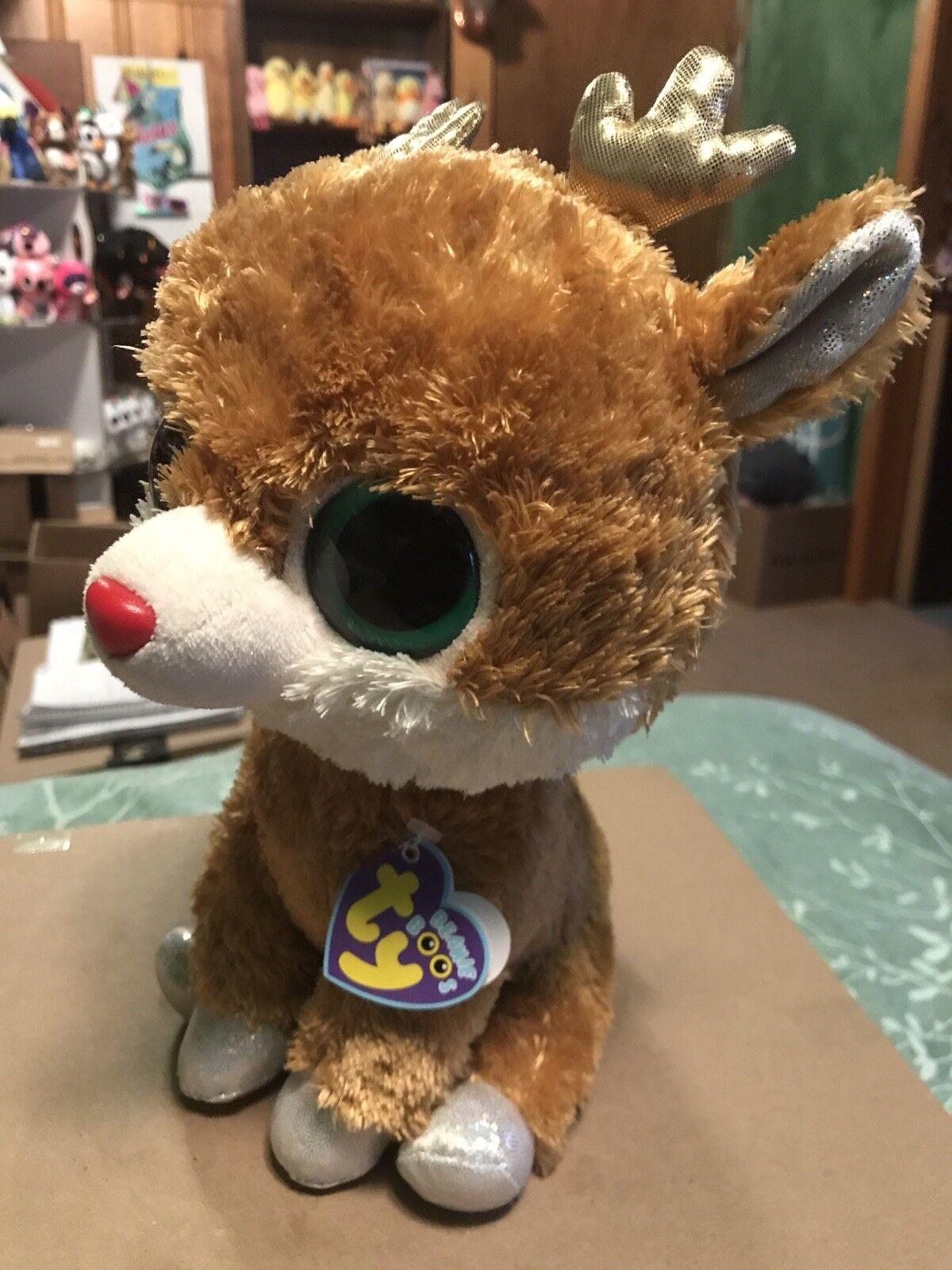 Ty Ty Ty ALPINE -Tan gold Holiday Reindeer 10  Beanie Boo Buddy  Retired RARE & VHTF 431aa3
