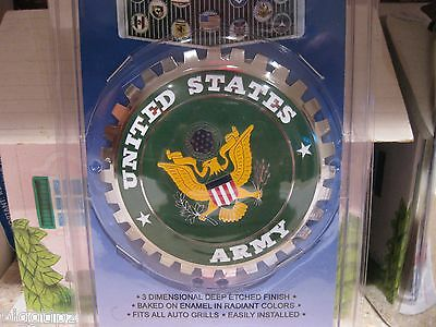 1 NEW Chrome Front Grill Badge EMBLEM United States US USA ARMY MEDALLION GREEN