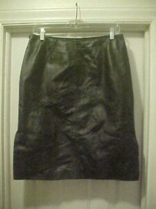 e5dbf66b6cd05 Details about Women's Size 10 Black 100% Leather Skirt By Newport Nylon  Lining Knee Length EUC