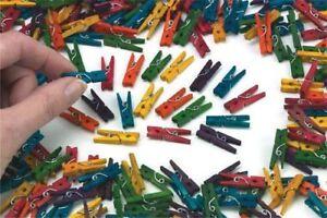100-MINI-esegue-il-pegging-colore-misto-PICCOLE-IN-LEGNO-PIN-Clip-Art-Artigianato-da-appendere-foto