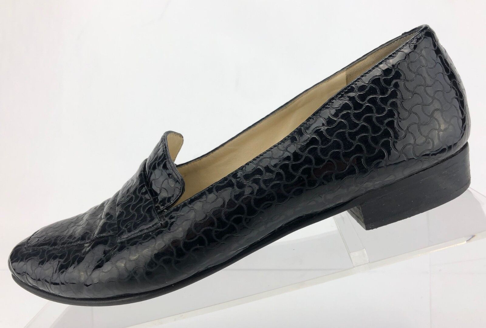Bally Casual Loafers Black Patent Embossed Leather Slip On Italy Womens Sz 6.5 M