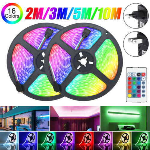 10//15M RGB LED Strip Light 5050SMD Waterproof 12V IR Controller W// Power Adaptor
