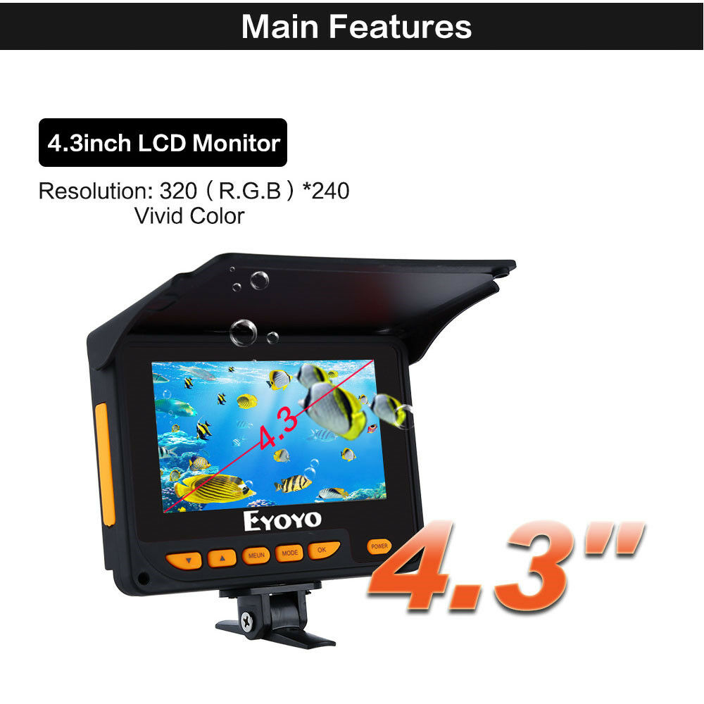 EYOYO 4.3  LCD Screen 150° Angle Monitor Infrared Fishing Camera Fishfinder 20M
