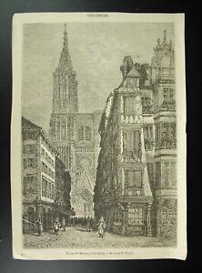 Strasbourg-La-Rue-of-Mercers-Drawing-H-Clerget-Engraving-c1850