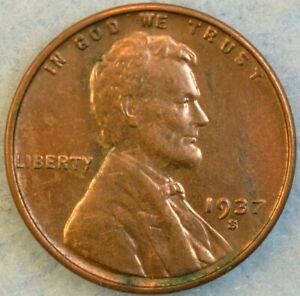 UNCIRCULATED UNC 1937 S Lincoln Wheat Cent SAN FRANCISCO FAST S&H 455