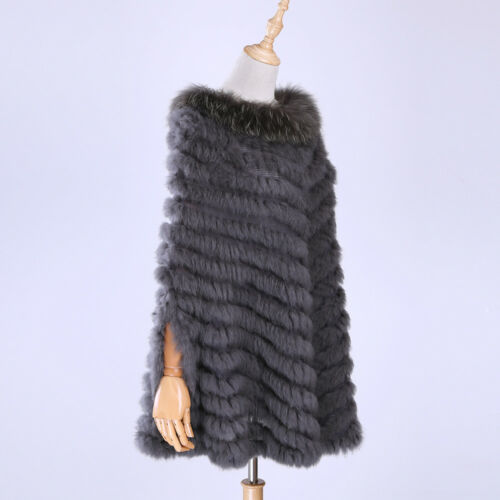 Women/'s Pullover Knitted Real Rabbit Fur Raccoon Fur Trim Poncho Cape Shawl Wrap