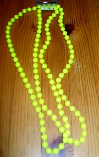 """FASHION LONG BEADS 48 /"""" ROPE NEON PINK ORANGE YELLOW GREEN 60/'S 70/'S 80/'s PARTY"""