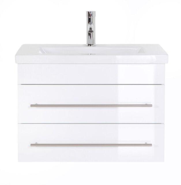 Badezimmer Waschbecken Waschtisch Unterschrank Posseik Neptun 700 Slimline  weiß