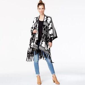 127b1eb58 Image is loading Kensie-Womens-Tribal-Print-Fringe-Detail-Sweater-Poncho-