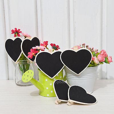 10-100pcs Mini Heart Blackboard Chalkboard Peg Clip Wedding Gift Card FavorsHB04