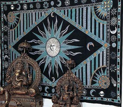 Handmade 100% Cotton Celestial Sun Moon Star Tapestry Coverlet Full Green 88x104