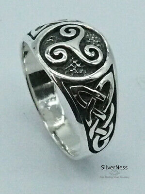 Sterling silver infinity ring Triskele Celtic knot in circle with blue enamel high polished Sterling silver 925 mens ring