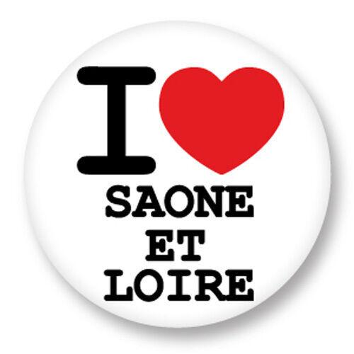 Magnet Aimant Frigo Ø38mm I Love Saone et Loire 71 Département Région Bourgogne