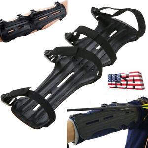 Adjustable Archery Arrow Arm Wrist Guard Leather Forearm Bow 4 Strap Protection