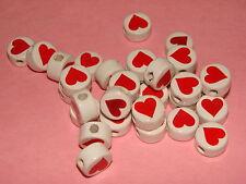 #M73 - 2o Peruvian Ceramic Beads 14mm flat circle heart red and white