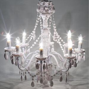 Lampadari Moderni Eleganti.Dettagli Su Lampadario Da Soffitto Gioiello 8 Luci Moderno Elegante Bianco Nero Trasparente