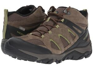 01dc3a77f0 Details about Mens Merrell Outmost Mid Vent Waterproof Slate Boulder Brown  Suede Hiking Boots
