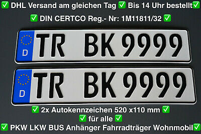 2x Premium Klett Rahmenlos Nummernschildhalter Für EU Kennzeichen 30cm bis 52cm