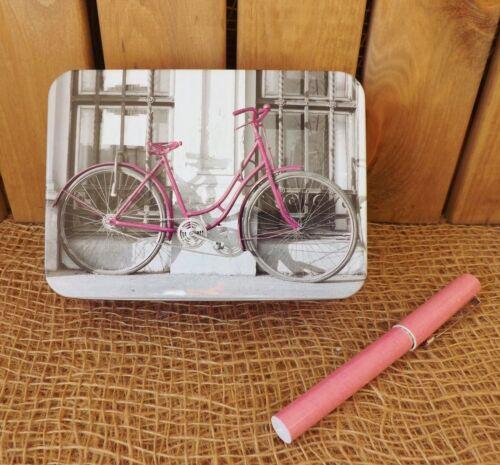 Retro Vintage Pink Bicycle Bike Sewing Trinket Coin Metal Storage Tin Box