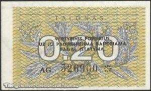 TWN - LITHUANIA 30 - 0,20 Talonu 1991 UNC Prefix AG