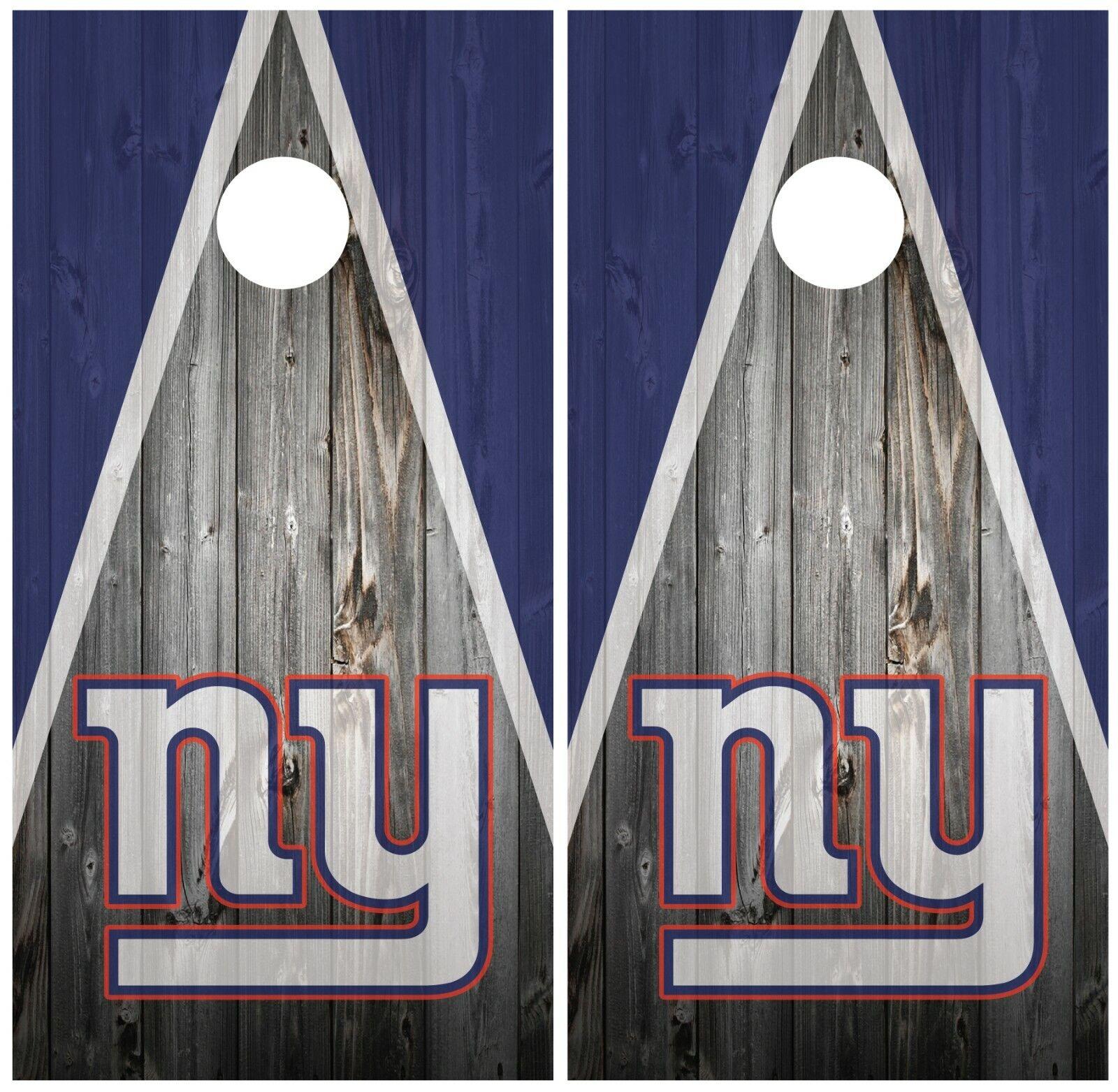 New  York Giants Wood Cornhole Board Wraps Skins Vinyl Laminated HIGH QUALITY   honest service