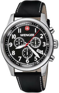 Wenger-Men-039-s-0543-101-Stainless-Steel-Black-Leather-Band-Chronograph-Watch