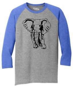 Mens-Elephant-3-4-Triblend-Animal-Graphic