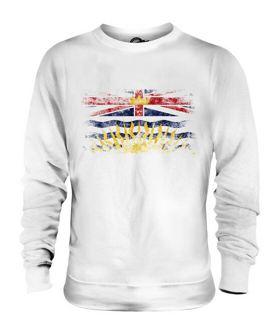BRITISH COLUMBIA DISTRESSED FLAG UNISEX SWEATER TOP BRITISH COLUMBIAN B.C. SHIRT