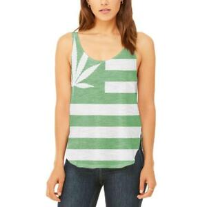Side Leaf American Tank Top Flowy Slit High Juniors Flag Pot TFqwxpq4Y