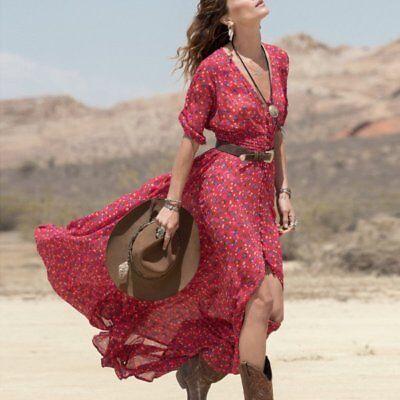 économiser jusqu'à 80% gamme complète d'articles en ligne ici Tres jolie womens dress long size 38 red boheme fast dispatch   eBay