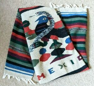 Mexican-Mexico-Vintage-Serape-Blanket-Rug-Wall-Hanging-Colorful-78-x-45