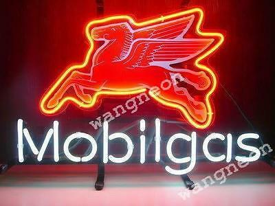 """24/"""" inches Pegasus Flying Horse Mobil Gas Oil Pump Station REAL NEON SIGN LIGHT"""